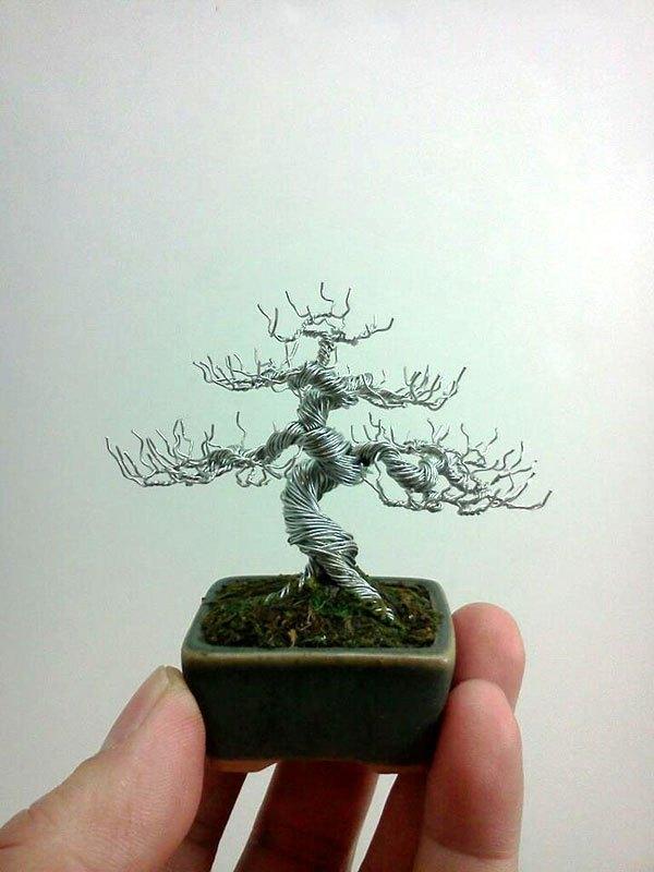 ワイヤー彫刻で作るミニチュア盆栽がすごい! (9)