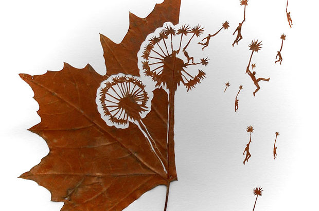 枯葉を利用したアート作品