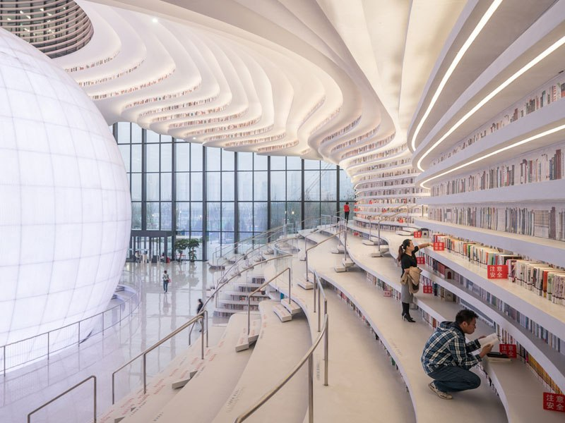 美しすぎる近未来的な中国の図書館「天津濱海図書館」