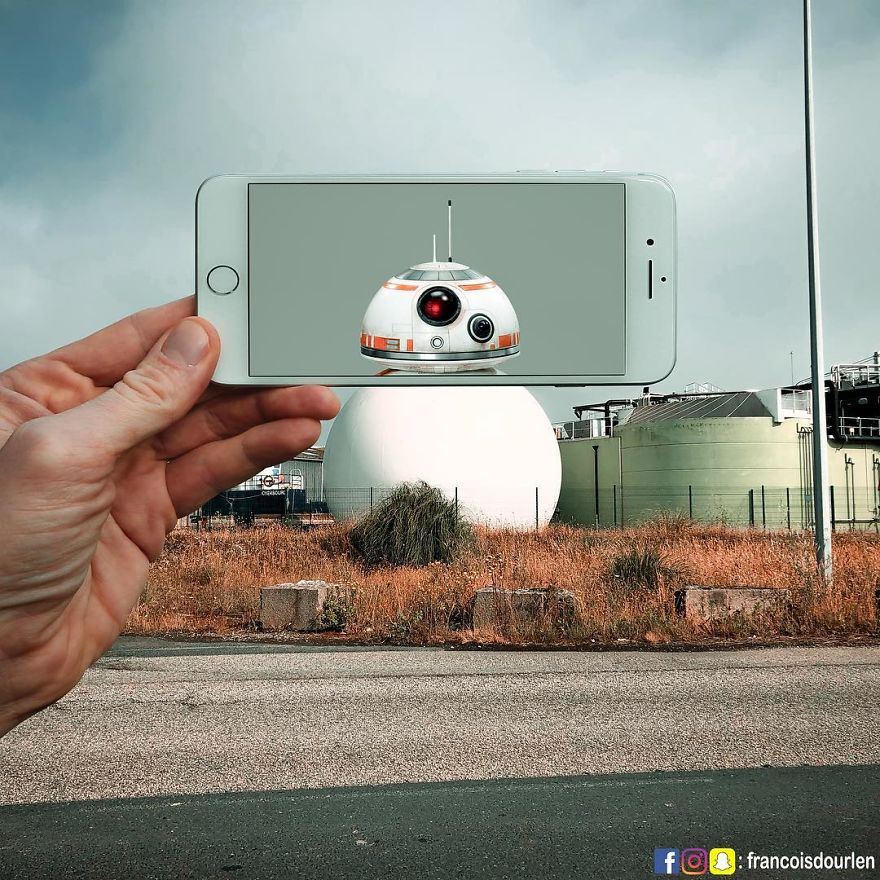 iPhoneと遠近法を使って撮影したユニークなトリック写真